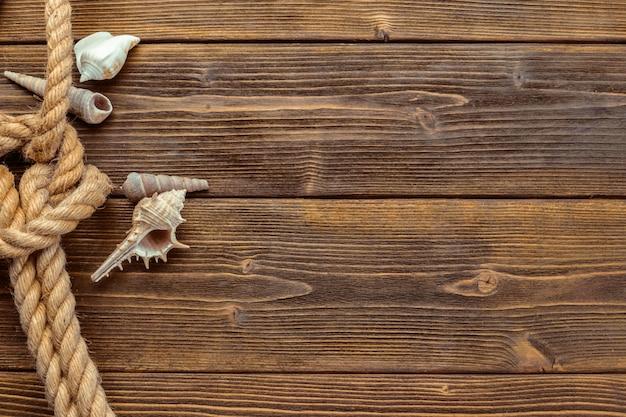 Seashells border on wood. marine background