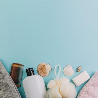 Seashells near hygiene supplies