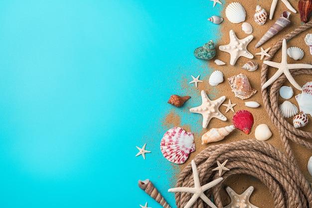 Ракушки различных видов, морские звезды и веревка на песке на синем фоне.