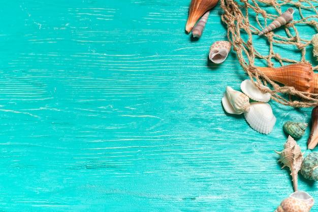 Ракушки на синем фоне деревянных