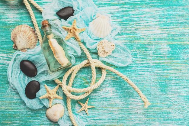 Seashells on turquoise background