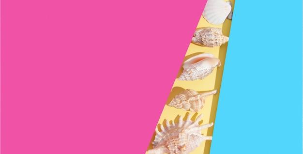 ハードシャドウとコピースペースのある明るい色の紙の背景を持つ貝殻。テキストのための夏の創造的なミニマルなフラットレイ