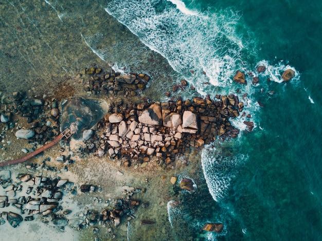 Seashore coast and stones. aerial view.