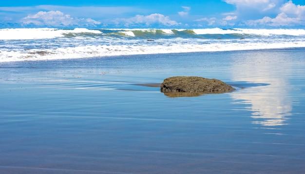 밝고 화창한 날 해변 풍경 보기