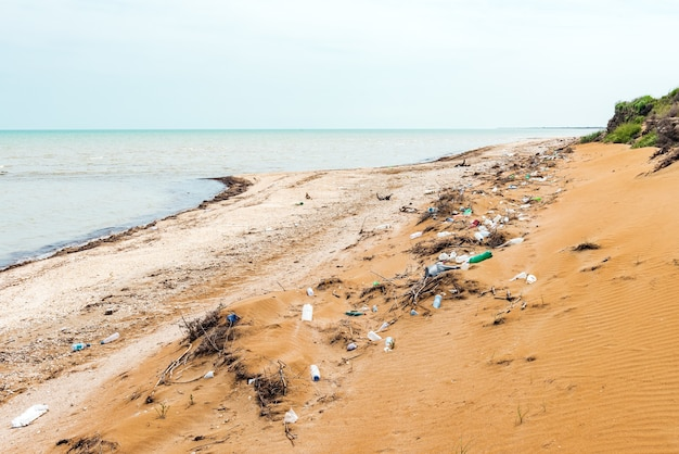 Seashore pollution with plastic bottles. ecological problem
