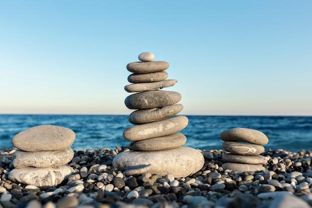 Seashore  with stone construction  of balance and harmony