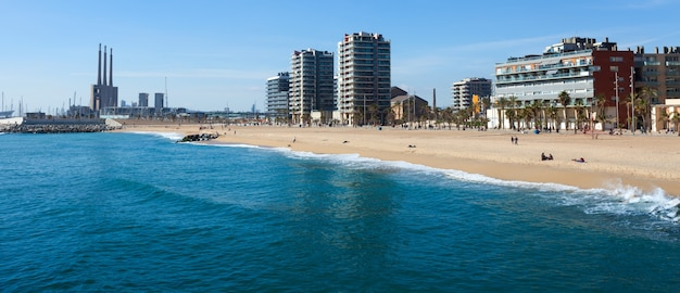 Seaside of badalona from  sea