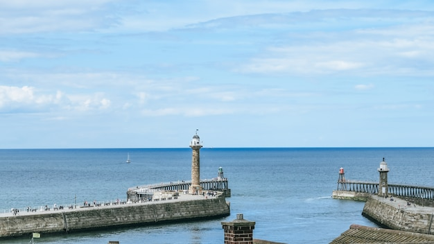 Seaside landscape of whitby, whitby harbour