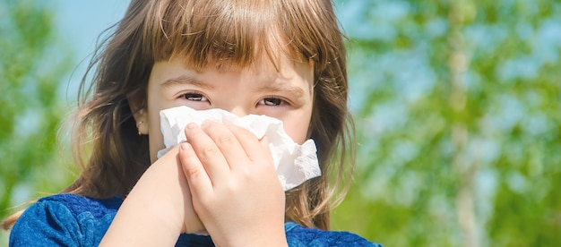 어린이의 계절 알레르기. 코리 자. 선택적 초점.