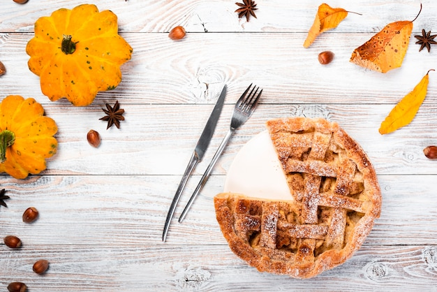 Seasonal background with appetizing pie
