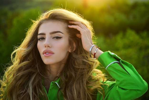 Seasonal fashion. spring woman outdoor. treatment and skincare. natural beauty face.