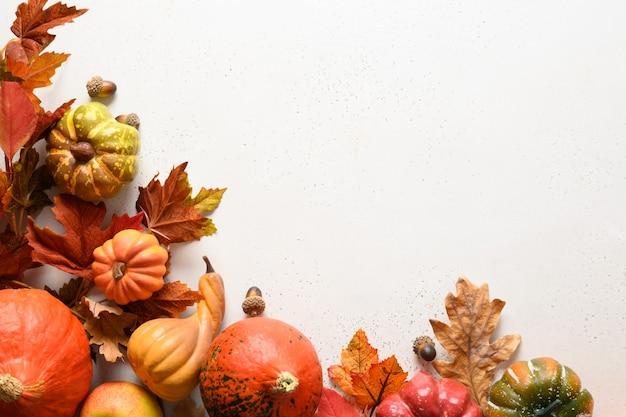 秋の収穫、カボチャ、テキスト用のスペースと白い背景の上のカラフルな葉からの季節のフレーム。秋の構成。ハロウィーンや感謝祭の日の概念。