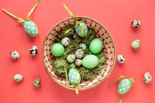 Seasonal painted green easter eggs