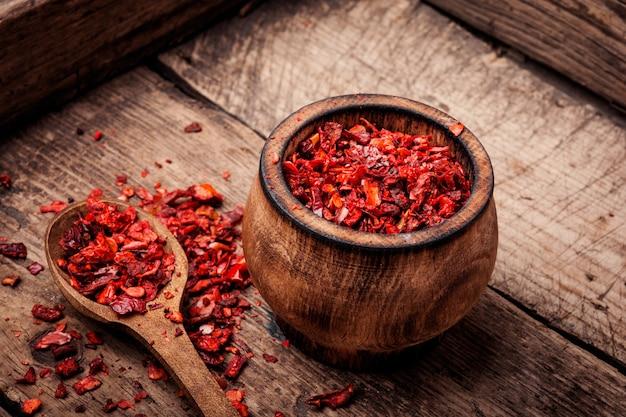 Seasoning pepper sweet, red, sliced.