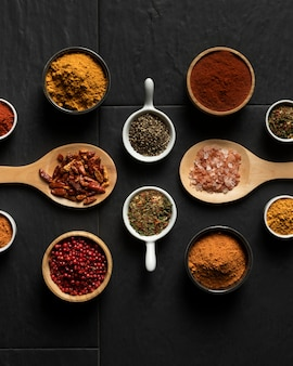 Seasoning spices on table
