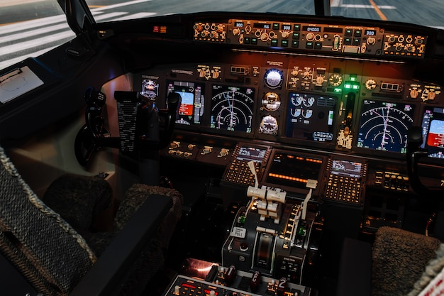 Seat of captain, first officer in boeing cockpit.
