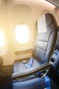 Seat passenger plane, cabin airplane. set of portholes.