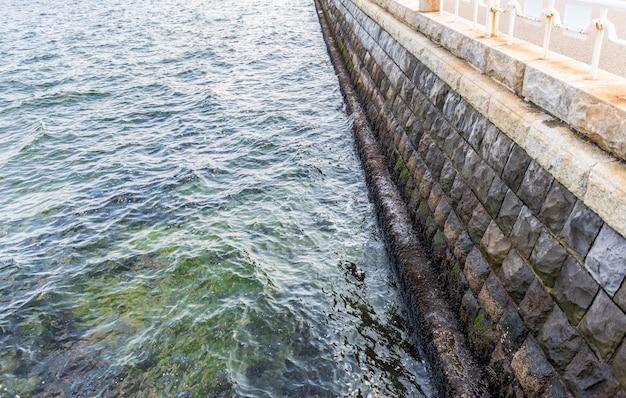 Seawall in the yokohama bay