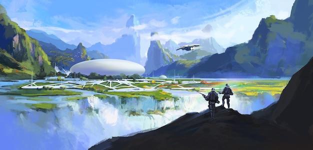 Secret base in secret environment, science fiction scene.