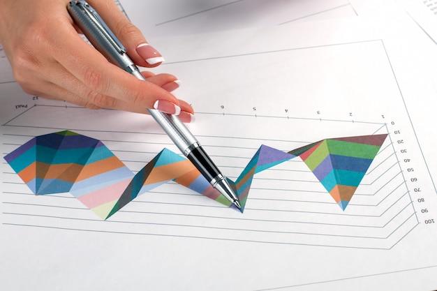 펜으로 비서의 손입니다. 비즈니스 차트 근처 여자 펜입니다. 상당한 진전이 있습니다. 어려운 차트를 공부합니다.