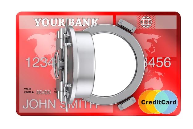 Концепция безопасного интернет-банкинга. кредитная карта с дверью сейфа банка на белой предпосылке. 3d рендеринг
