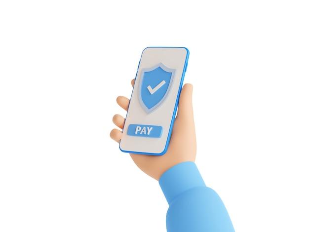白で隔離されたタッチスクリーン上のシールドと支払いボタン付きの携帯電話を保持している青いセーターの手で安全なオンライン支払い3dレンダリングイラスト。スマートフォンでの送金サインの成功。