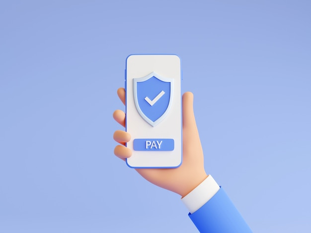 Secure online payment 3d render illustration with human hand holding mobile phone with shield and pay button on touch screen. successful money transfer sign on smartphone in man hand.