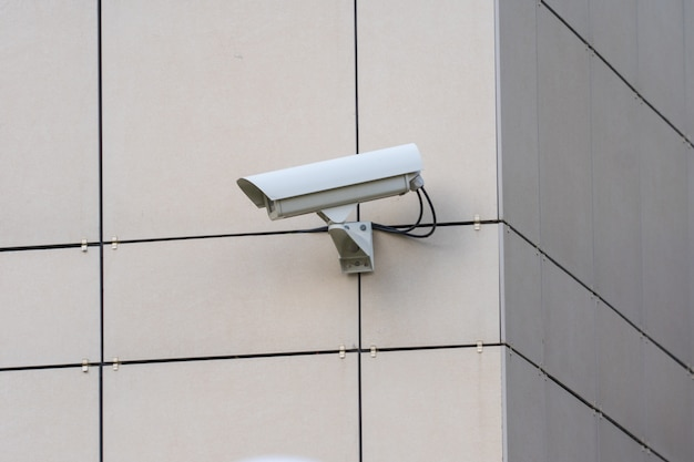 Security camera on building wall