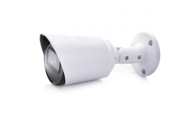 Cctv камеры слежения изолированное на белой стене.