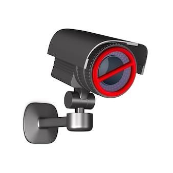 禁止標識付きの防犯カメラ。分離された3dレンダリング