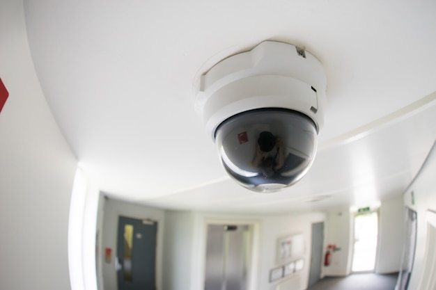 Security, cctv camera in office building