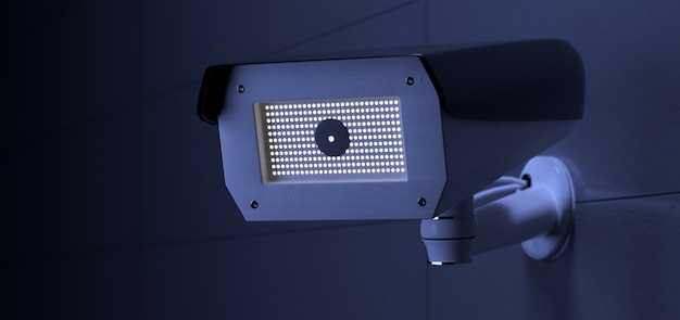 Security cctv camera system, 3d rendering