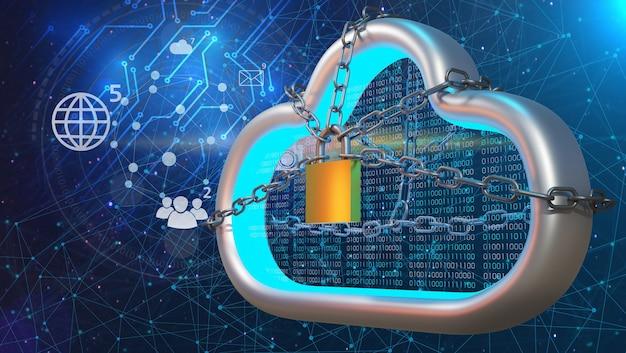 Облачные технологии безопасности. концепция облачной защиты. 3d рендеринг