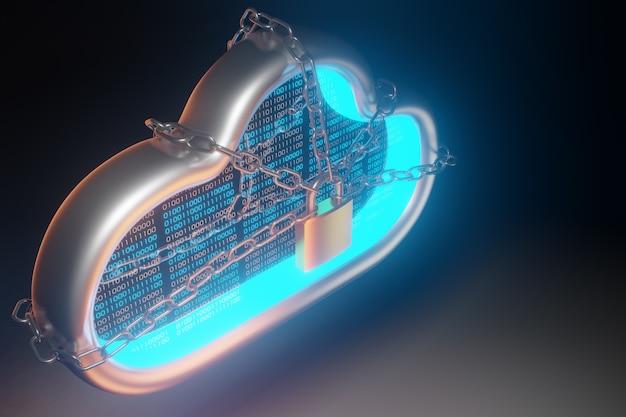 Облачные технологии безопасности. концепция облачной защиты и блокчейн. 3d рендеринг