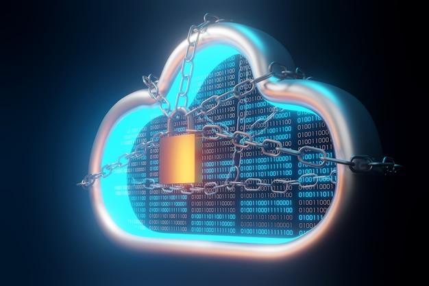 セキュリティクラウドテクノロジー。クラウド保護とブロックチェーンの概念。 3dレンダリング