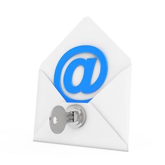 보안 개념입니다. 흰색 배경에 키와 열쇠 잠금 장치가 있는 봉투에 전자 메일 로그인. 3d 렌더링.