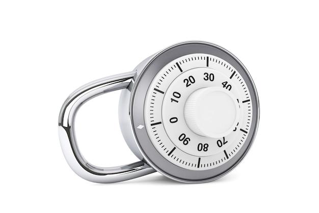 Концепция безопасности. серебряный комбинированный замок на белом фоне