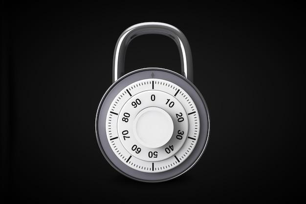 Концепция безопасности. серебряные комбинированные замки в открытом и закрытом положении на черном фоне