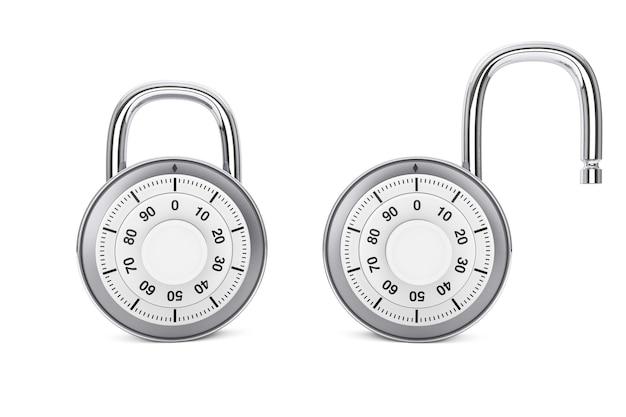 Концепция безопасности. серебряные комбинированные замки в открытом и закрытом положении на белом фоне