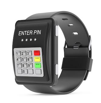 보안 개념입니다. 흰색 바탕에 atm 키패드로 smartwatch입니다. 3d 렌더링