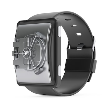 Концепция безопасности. smartwatch с дверью хранилища банка на белом фоне. 3d рендеринг