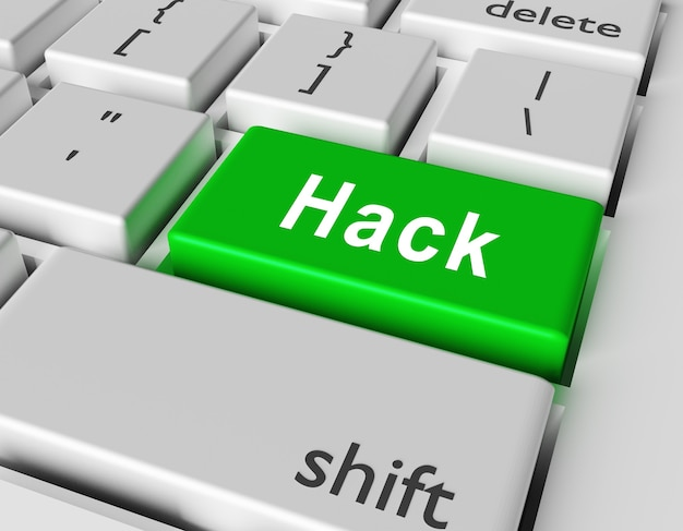 Security concept word hack on button of computer keyboard