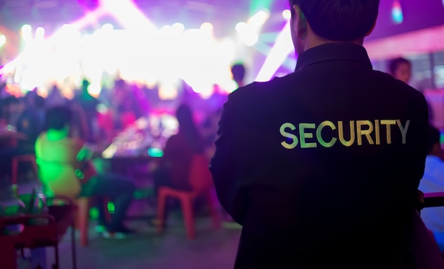 Security guard asians in a nightclub