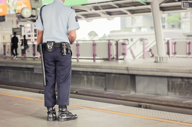 Security guard officer working on the bts skytrain