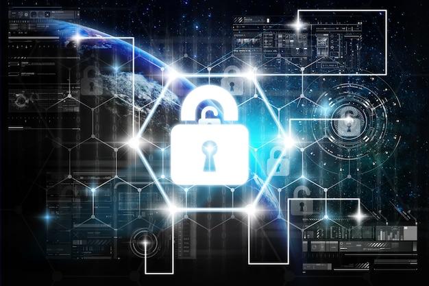 Цифровой дисплей значка блокировки ключа безопасности над цифровым виртуальным экраном технологии с сетью