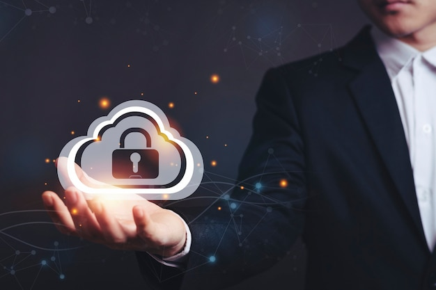 Security lock cyber and cloud backup.
