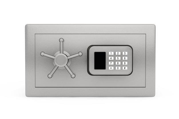 白い背景の上のセキュリティメタル金庫