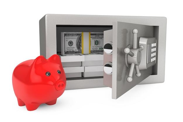 白い背景の上のお金と貯金箱で安全なセキュリティ金属