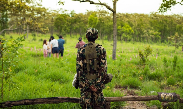 Security officer in forest park thailand