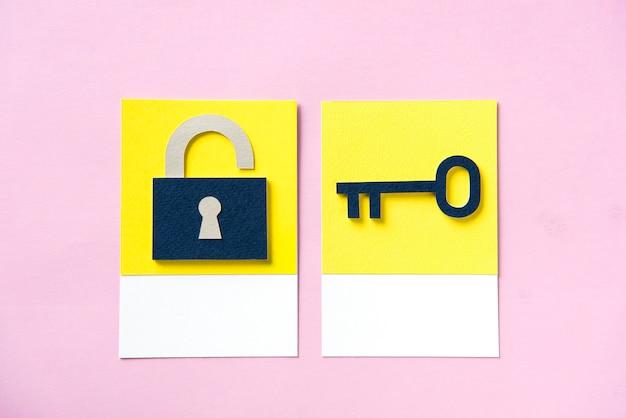 열쇠가있는 보안 자물쇠